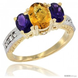 10K Yellow Gold Ladies Oval Natural Whisky Quartz 3-Stone Ring with Amethyst Sides Diamond Accent