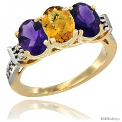 10K Yellow Gold Natural Whisky Quartz & Amethyst Sides Ring 3-Stone Oval 7x5 mm Diamond Accent