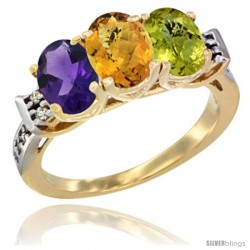 10K Yellow Gold Natural Amethyst, Whisky Quartz & Lemon Quartz Ring 3-Stone Oval 7x5 mm Diamond Accent