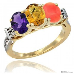 10K Yellow Gold Natural Amethyst, Whisky Quartz & Coral Ring 3-Stone Oval 7x5 mm Diamond Accent