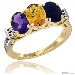 10K Yellow Gold Natural Amethyst, Whisky Quartz & Lapis Ring 3-Stone Oval 7x5 mm Diamond Accent