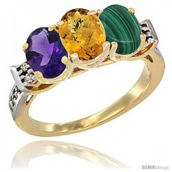 10K Yellow Gold Natural Amethyst, Whisky Quartz & Malachite Ring 3-Stone Oval 7x5 mm Diamond Accent