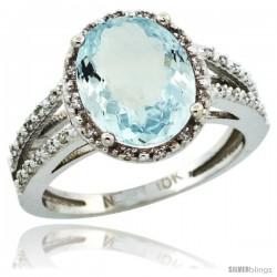 10k White Gold Diamond Halo Aquamarine Ring 3 Carat Oval Shape 11X9 mm, 7/16 in (11mm) wide