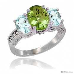 10K White Gold Ladies Natural Peridot Oval 3 Stone Ring with Aquamarine Sides Diamond Accent
