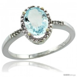 10k White Gold Diamond Aquamarine Ring 1.17 ct Oval Stone 8x6 mm, 3/8 in wide