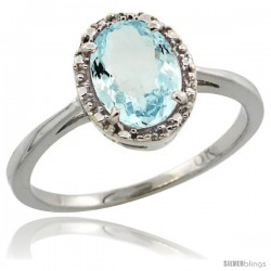 10k White Gold Diamond Halo Aquamarine Ring 1.2 ct Oval Stone 8x6 mm, 1/2 in wide