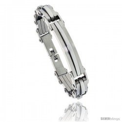 Stainless Steel Men's ID Style Bar Bracelet, 1/2 in wide, 8.75 in