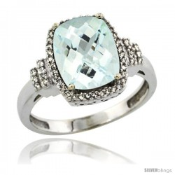 10k White Gold Diamond Halo Aquamarine Ring 2.4 ct Cushion Cut 9x7 mm, 1/2 in wide