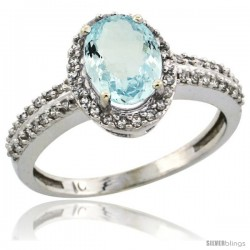 10k White Gold Diamond Halo Aquamarine Ring 1.2 ct Oval Stone 8x6 mm, 3/8 in wide