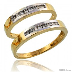 14k Gold 2-Piece His (3mm) & Hers (3mm) Diamond Wedding Band Set w/ Rhodium Accent, w/ 0.28 Carat Brilliant Cut Diamonds