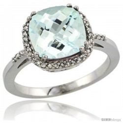10k White Gold Diamond Aquamarine Ring 3.05 ct Cushion Cut 9x9 mm, 1/2 in wide