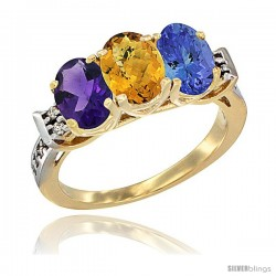 10K Yellow Gold Natural Amethyst, Whisky Quartz & Tanzanite Ring 3-Stone Oval 7x5 mm Diamond Accent