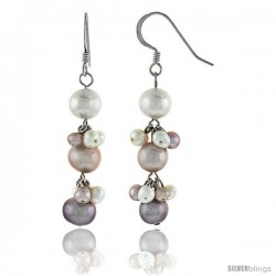 Sterling Silver Pearl Drop Earrings Natural Freshwater 7.5 mm Rhodium Finish, 48 mm Long