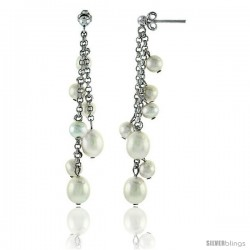 Sterling Silver Pearl Drop Earrings Natural Freshwater 9, & 6 mm Rhodium Finish, 56 mm Long