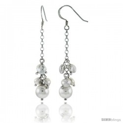 Sterling Silver Pearl Drop Earrings Natural Freshwater 5, & 7.5 mm Rhodium Finish, 35 mm Long