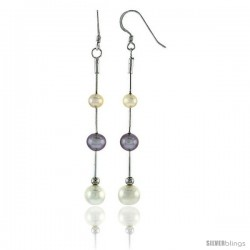 Sterling Silver Pearl Drop Earrings Natural Freshwater 7.5, & 8 mm Rhodium Finish, 52 mm Long
