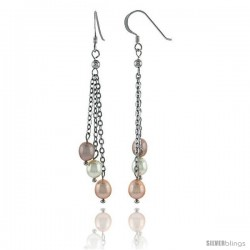 Sterling Silver Pearl Drop Earrings Natural Freshwater 6 mm 5, & 8.5 mm Rhodium Finish, 57 mm Long