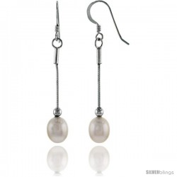 Sterling Silver Pearl Drop Earrings Natural Freshwater 8.5 mm Rhodium Finish, 34 mm Long