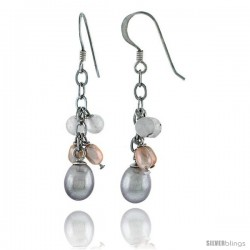 Sterling Silver Pearl Drop Earrings Natural Freshwater 8 mm Rhodium Finish, 30 mm Long