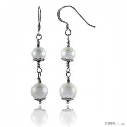 Sterling Silver Pearl Drop Earrings Natural Freshwater 7 mm Rhodium Finish, 32 mm Long