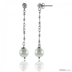 Sterling Silver Pearl Drop Earrings Natural Freshwater 5 mm Rhodium Finish, 50 mm Long