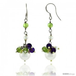 Sterling Silver Pearl Drop Earrings Natural Freshwater w/ Amethyst Beads Rhodium Finish, 45 mm Long