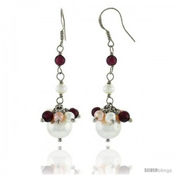 Sterling Silver Pearl Drop Earrings Natural Freshwater w/ Garnet Beads Rhodium Finish, 45 mm Long