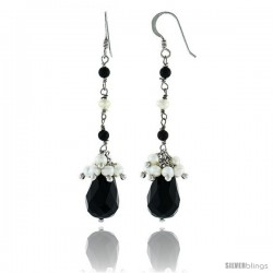 Sterling Silver Pearl Drop Earrings Natural Freshwater 4 mm w/ Onyx Beads Rhodium Finish, 68 mm Long
