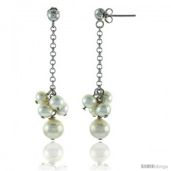Sterling Silver Pearl Drop Earrings Natural Freshwater 5, & 4 mm Rhodium Finish, 45 mm Long