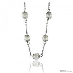 Sterling Silver Pearl Necklace Freshwater 8 mm Rhodium Finish, 17 in long