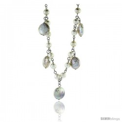 Sterling Silver Pearl Necklace Freshwater 14 mm Coin and 5 mm Round, 16 in long