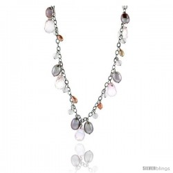Sterling Silver Pearl Necklace Freshwater 8 mm Rhodium Finish, 16 in long