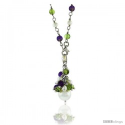 Sterling Silver Pearl Necklace Freshwater w/ Amethyst Beads Rhodium Finish, 25 in long