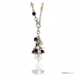 Sterling Silver Pearl Necklace Freshwater w/ Garnet Beads Rhodium Finish, 25 in long