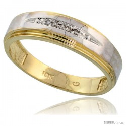 10k Yellow Gold Mens Diamond Wedding Band Ring 0.03 cttw Brilliant Cut, 1/4 in wide -Style 10y013mb