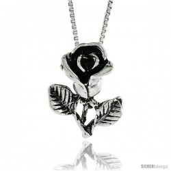 Sterling Silver Rose Pendant, 13/16 in. (21 mm) Long.