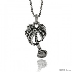 Sterling Silver Palm Tree Pendant, 3/4 in. (19 mm) Long.