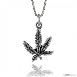Sterling Silver Pot Leaf Pendant, 3/4 in. (20 mm) Long.