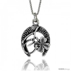 Sterling Silver Good Luck Pendant, 3/4 in. (20 mm) Long.