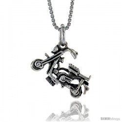 Sterling Silver Motorcycle Pendant, 1/4 in. (6.5 mm) Long.