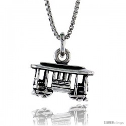 Sterling Silver Small Trolley Car Pendant, 5/8 in. (15.5 mm) Long.