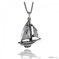 Sterling Silver Sailboat Pendant, 5/8 in. (16.6 mm) Long.