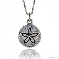 Sterling Silver Sand Dollar Pendant, 1/2 in. (13.2 mm) Long.