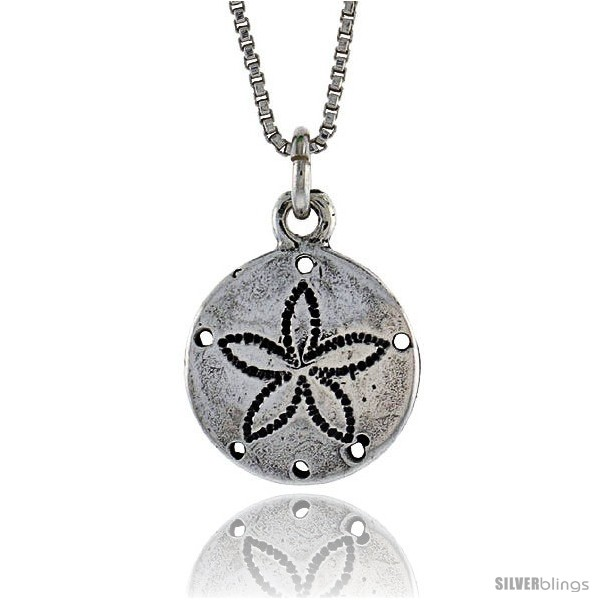Sterling silver sand dollar pendant 12 in 132 mm long undefined aloadofball Images