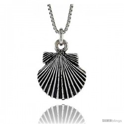 Sterling Silver Shell Pendant, 7/16 in. (11.2 mm) Long.