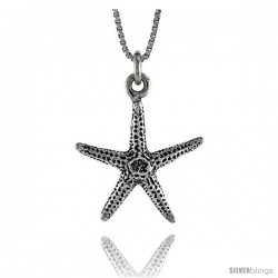 Sterling Silver Starfish Pendant, 11/16 in. (17 mm) Long.