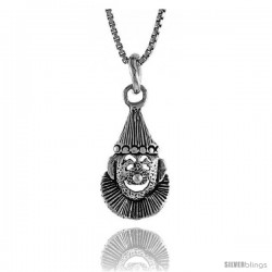 Sterling Silver Clown Pendant, 1/2 in. (13.7 mm) Long.