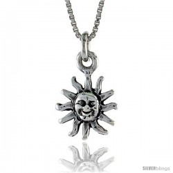 Sterling Silver Sun Pendant, 1/4 in. (6.2 mm) Long. -Style Po219