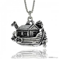 Sterling Silver Noah's Ark Pendant, 3/8 in. (9 mm) Long.