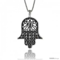 Sterling Silver Hamsa (Hand Of God) Pendant, 11/16 in. (17 mm) Long.